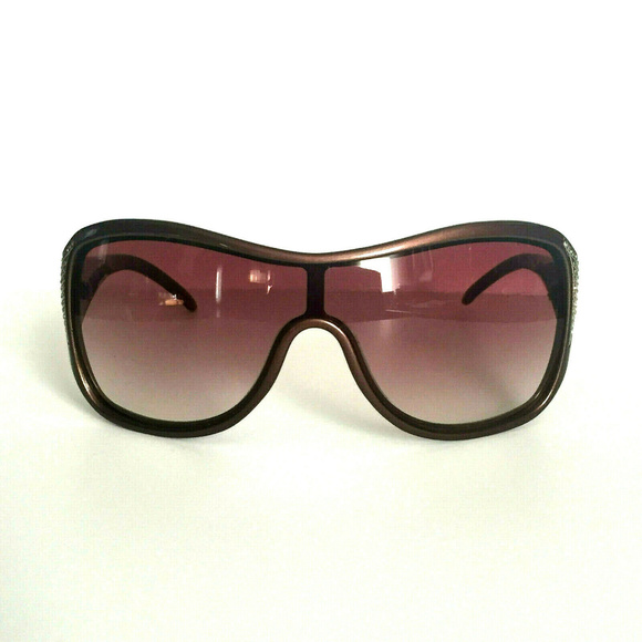 Valentino Accessories - Valentino Embellished Shield Bronze Sunglasses